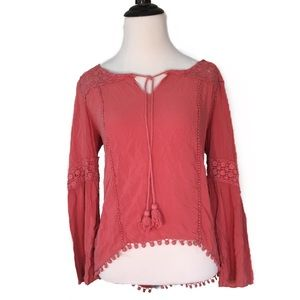 Maurices Pink Boho Long Lacey Tassel Blouse